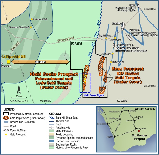 Phosphate Australia commences drill testing at Mount Monger Gold Project