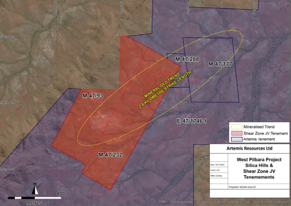 Artemis increases licence area at Silica Hills Gold Discovery