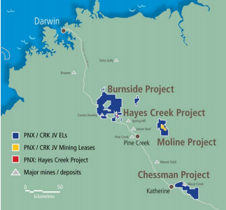 PNX earns 51% interest in 19 ELs and 4 MLs in the Pike Creek region of NT