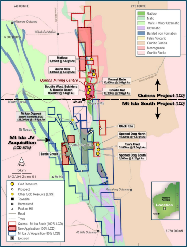Latitude completes acquisition of 80% interest in the Mt Ida South gold projects